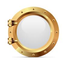 Ship Metal Porthole On White B...