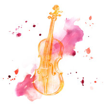 Pencil Drawing Of Golden Colored Vintage Violin On Watercolor Backround