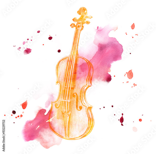 Fotografia Pencil drawing of golden colored vintage violin on watercolor backround