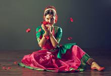 Beautiful Indian  Girl Dancer Of Indian Classical Dance Bharatanatyam Or Kuchipudi