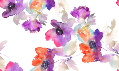 NaklejkaPurple watercolor flowers