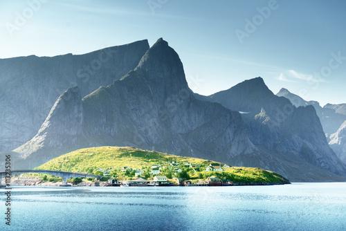 Poster Scandinavie sunset in Lofoten islands, Norway