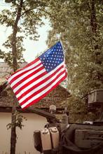 USA Flag Mounted On Armored  Vehicle