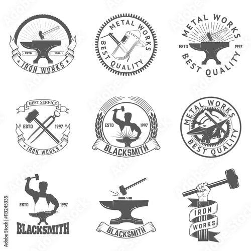Set of blacksmith, iron works labels, badges and design elements Wallpaper Mural