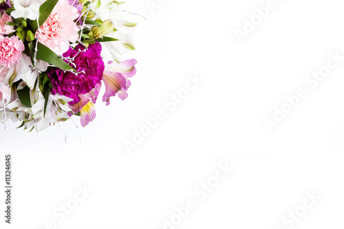 Photo Stands Floral woman Bouquet from pink and purple gillyflowers, top view