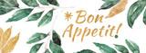 Zdrowa żywność akwarela transparent. Przyprawy do gotowania z zielonym liściem i złotym liściem. Smacznego! - 113250953