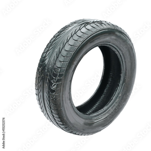 wet old tire isolated on white background © dule964