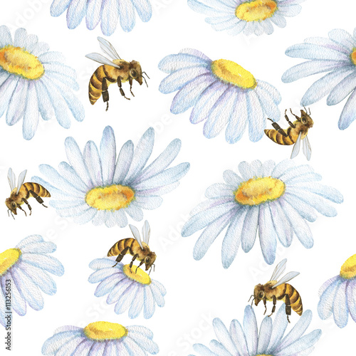 Cotton fabric Watercolor seamless pattern with flowers chamomile and bee.