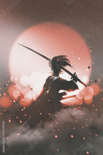 samurai with sword standing on sunset background,illustration painting Wallpaper Mural