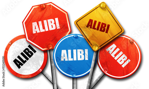 Photo alibi, 3D rendering, rough street sign collection