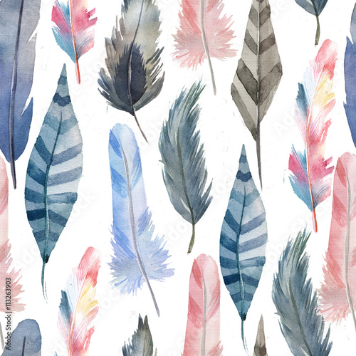 Cotton fabric soft pattern of feathers