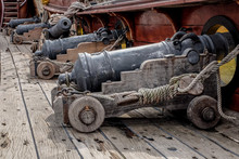 Row Of Cannons On Galleon Deck