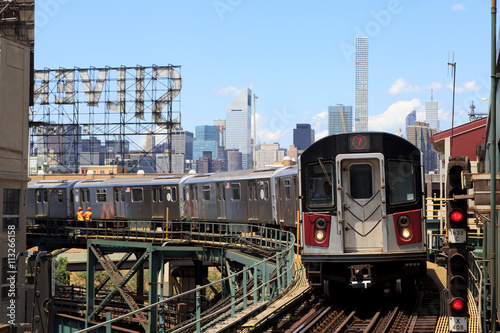 New York, NY, USA - June 7, 2016: 7 line subway :A Subway Train Approaching a Station in New York