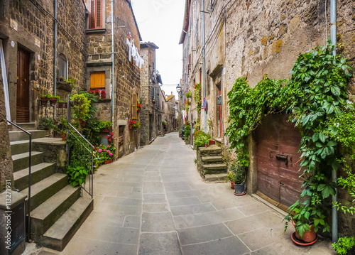 Fototapeta Beautiful view of old traditional houses and idyllic alleyway in the historic town of Vitorchiano, Viterbo, Lazio, Italy obraz
