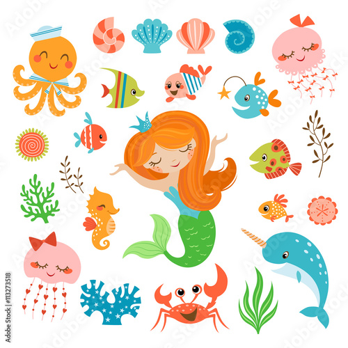 Photo  Mermaid and sea friends