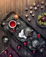 Turkish Delights And Tea On The Table In Istanbul