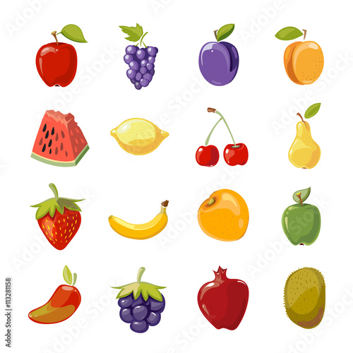 Foto op Aluminium Pixel Fruit icons in cartoon style. Fruit for healthy life and cartoon sweet nature fruit. Vector illustration