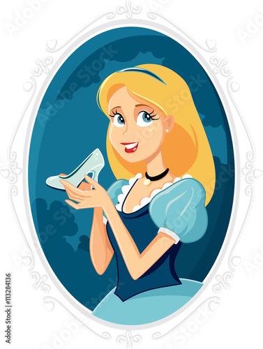 Fotografie, Obraz  Princess Cinderella Holding Magic Shoe Vector Cartoon