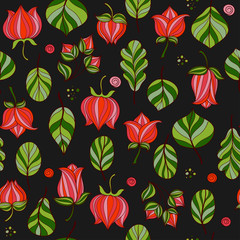 Flowers and leaves seamless pattern. Vector floral background