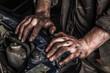 Leinwanddruck Bild - Working man near engine