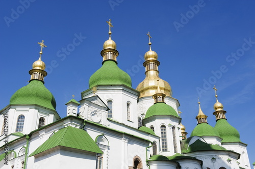 St. Sophia's Cathedral, built between 1017 and 1031 with baroque style domes, UNESCO World Heritage Site, Kiev, Ukraine, Europe