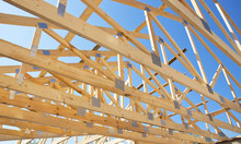 Roofing Construction. Wooden Roof Frame House Construction.
