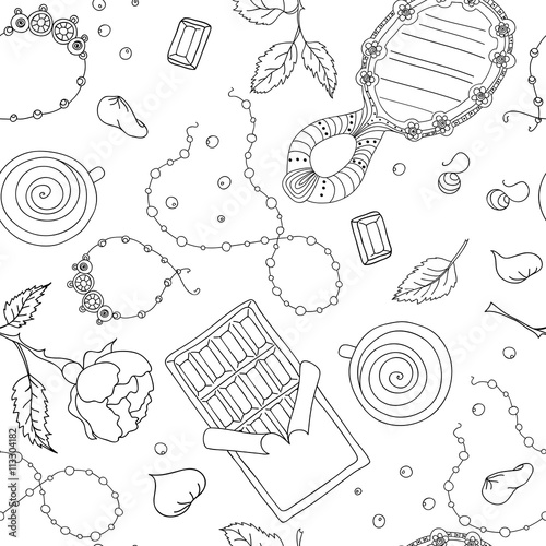 Cotton fabric seamless vector pattern doodle of many elements.Women's accessories.Romantic pattern