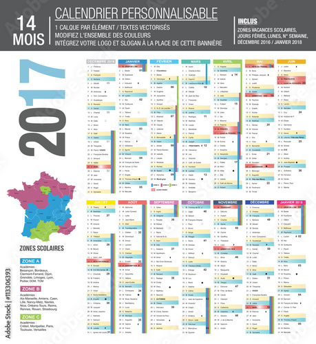 Calendrier 2017 Sur 14 Mois Buy This Stock Vector And Explore