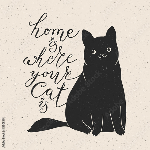 Spoed Fotobehang Halloween Cute cat character and quote.