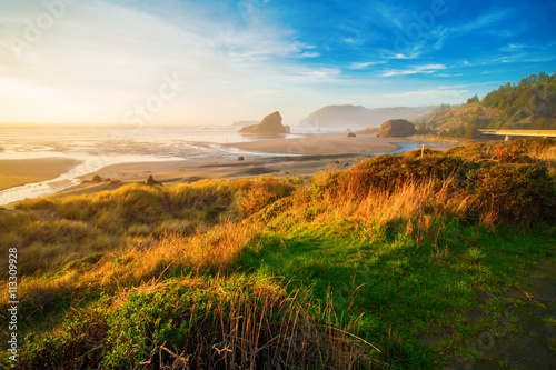 Ingelijste posters Kust Sunrise at Oregon coast