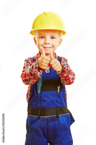 plakat Kind als Handweker hält Daumen hoch