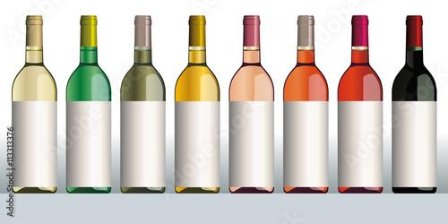 Fotografía  Bouteilles de vin - Bordeaux x 8