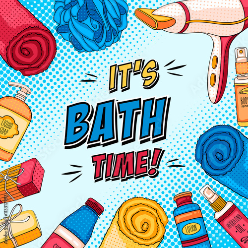 plakat Hygiene pop art background with bathroom accessories