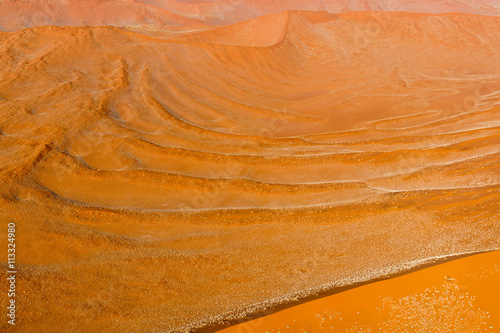 Poster Oranje eclat Airwiev of the dunes of Sossusvlei, Namibia