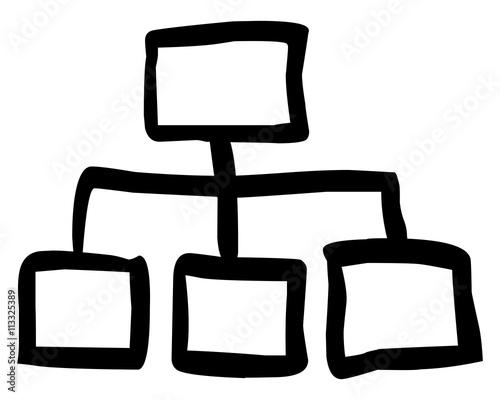 Doodle Organigramm Mit Zwei Ebenen Schwarz Weiß Gezeichnet