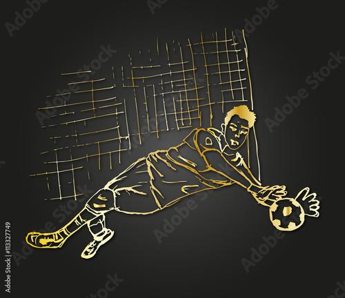 Gold torwart design - 113327749