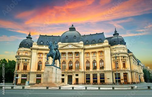 Bucharest / Bucuresti at Sunset. Calea Victoriei, National Library