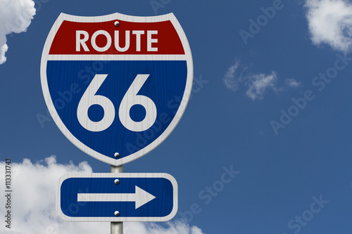 Photo  American Route 66 Highway Road Sign