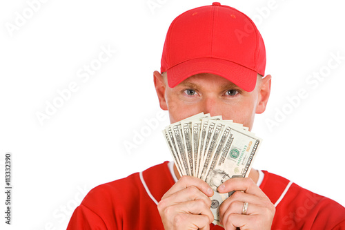 Baseball: Player Holding Up Fanned Out Money Poster