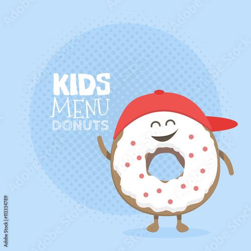 Kids Restaurant Menu Cardboard Character Funny Cute Donut Drawn