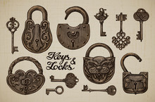 Vintage Keys And Locks. Hand-drawn Collection Of Vector Retro Objects
