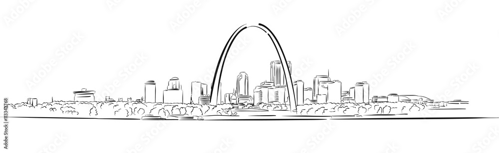Fototapety, obrazy: St Louis, Missouri, Hand-drawn Outline Sketch