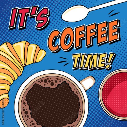 Plakat Komiks rano pop-art ilustracja z filiżanki kawy