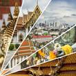 Collage of Bangkok (Thailand) images - travel background (my pho