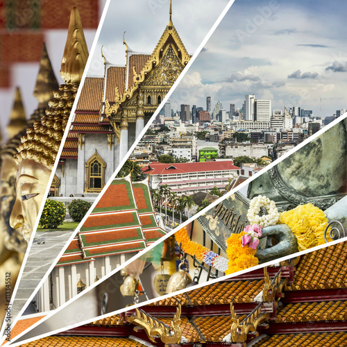 Staande foto Eiland Collage of Bangkok (Thailand) images - travel background (my pho