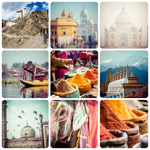 Collage of India images - travel background (my photos) Poster