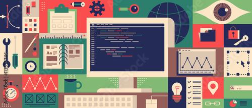 Fotografía  Web programming design flat concept