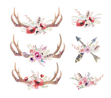 Watercolor Bohemian Deer Horns...