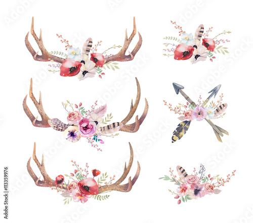 Valokuva  Watercolor bohemian deer horns. Western mammals. Watercolour hip