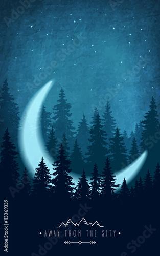 sylwetka-las-przy-nocnym-niebem-dekoracje-lesne-z-polksiezycem